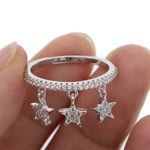 Triple Star CZ Platinum Plated Ring,sz 6 or 7